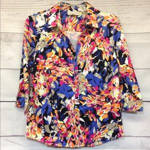 Dana Buchman Size M Button Front Abstract Print